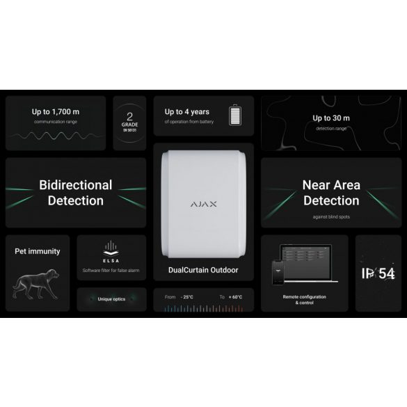 Ajax DualCurtain Outdoor WH Kültéri kétirányú mozgásérzékelő