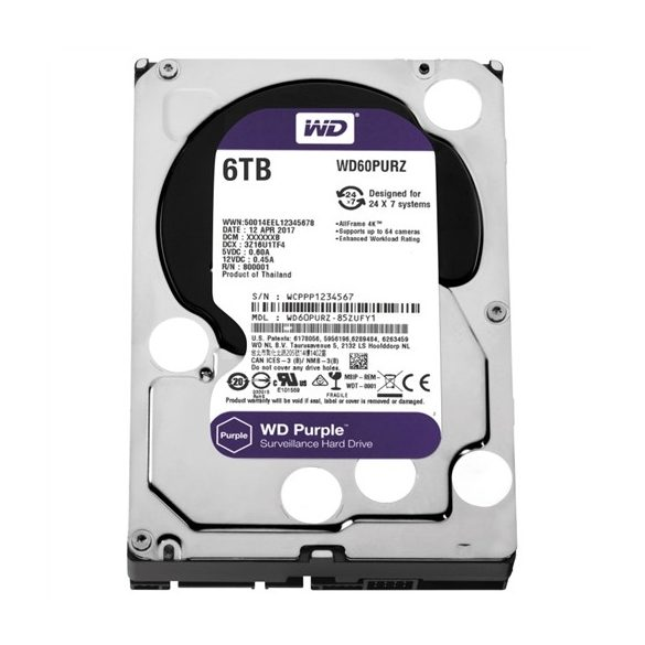 HDD 6TB WD Purple SATA3 Purple 6TB/64MB