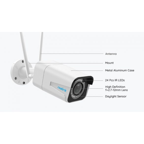 Reolink RLC-511W 5Mpx IP kamera 4xoptikai zoom, IP66m WI-Fi, SD kártya