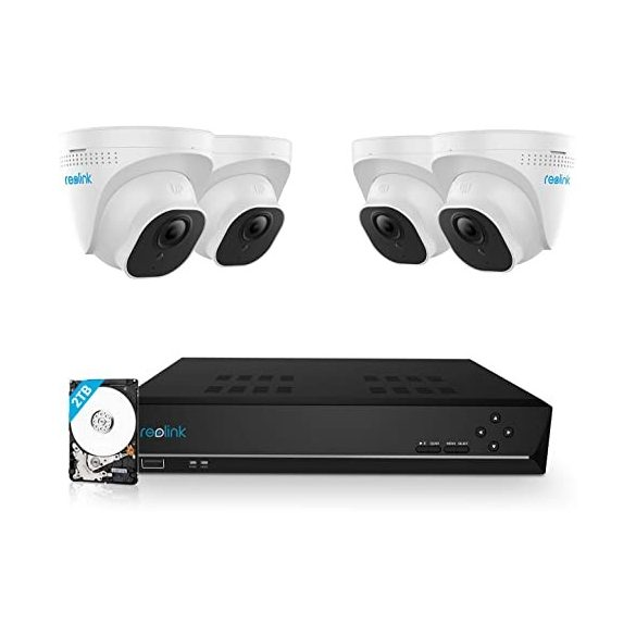 Reolink RLK8-800D4 8CH NVR/POE 2TBHDD 4x D800 dome kamera, HDMI kábel, 4x18m UTP kábel,